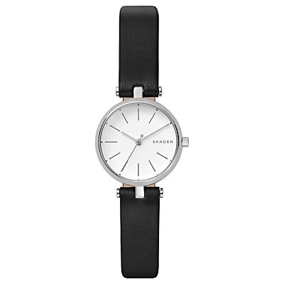 Skagen Signatur SKW2639 Women's Leather Strap Watch, Black/Silver