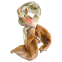 Buy Chesca Hummingbird Print Silk Scarf, Coral/Beige Online at johnlewis.com
