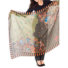 Buy Chesca Tribal Print Silk Scarf, Orange/Green Online at johnlewis.com