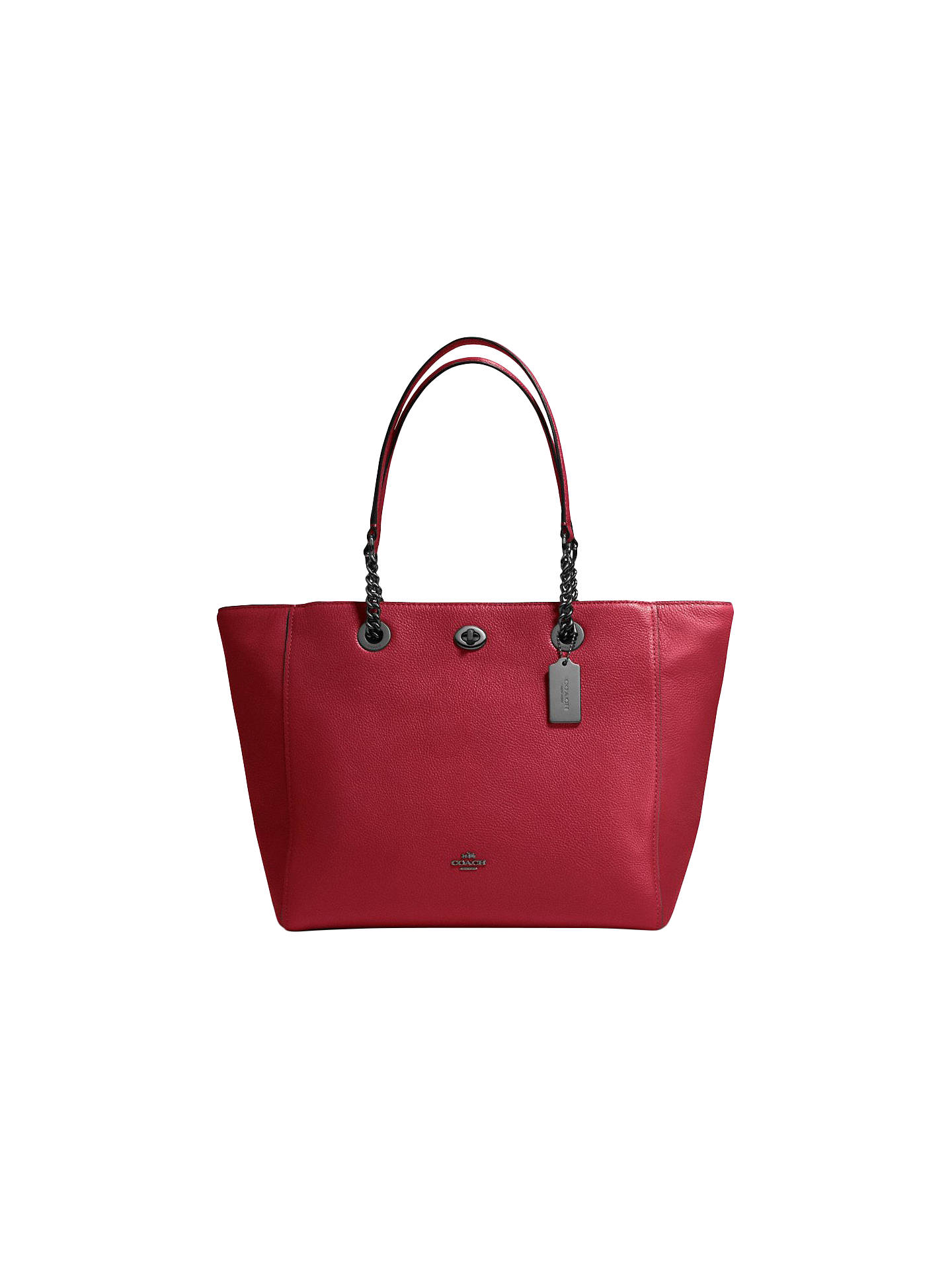 dabc2d8d5 Buy Coach Turnlock Chain Crossgrain Leather Tote Bag, Cherry Online at  johnlewis.com