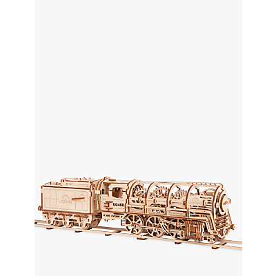 Image of UGears Locomotive and Tender Mechanical Model Wood Puzzle