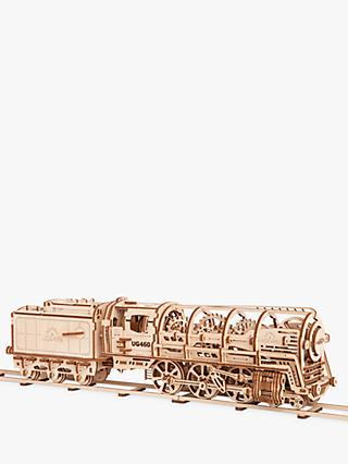 UGears Locomotive and Tender Mechanical Model Wood Puzzle