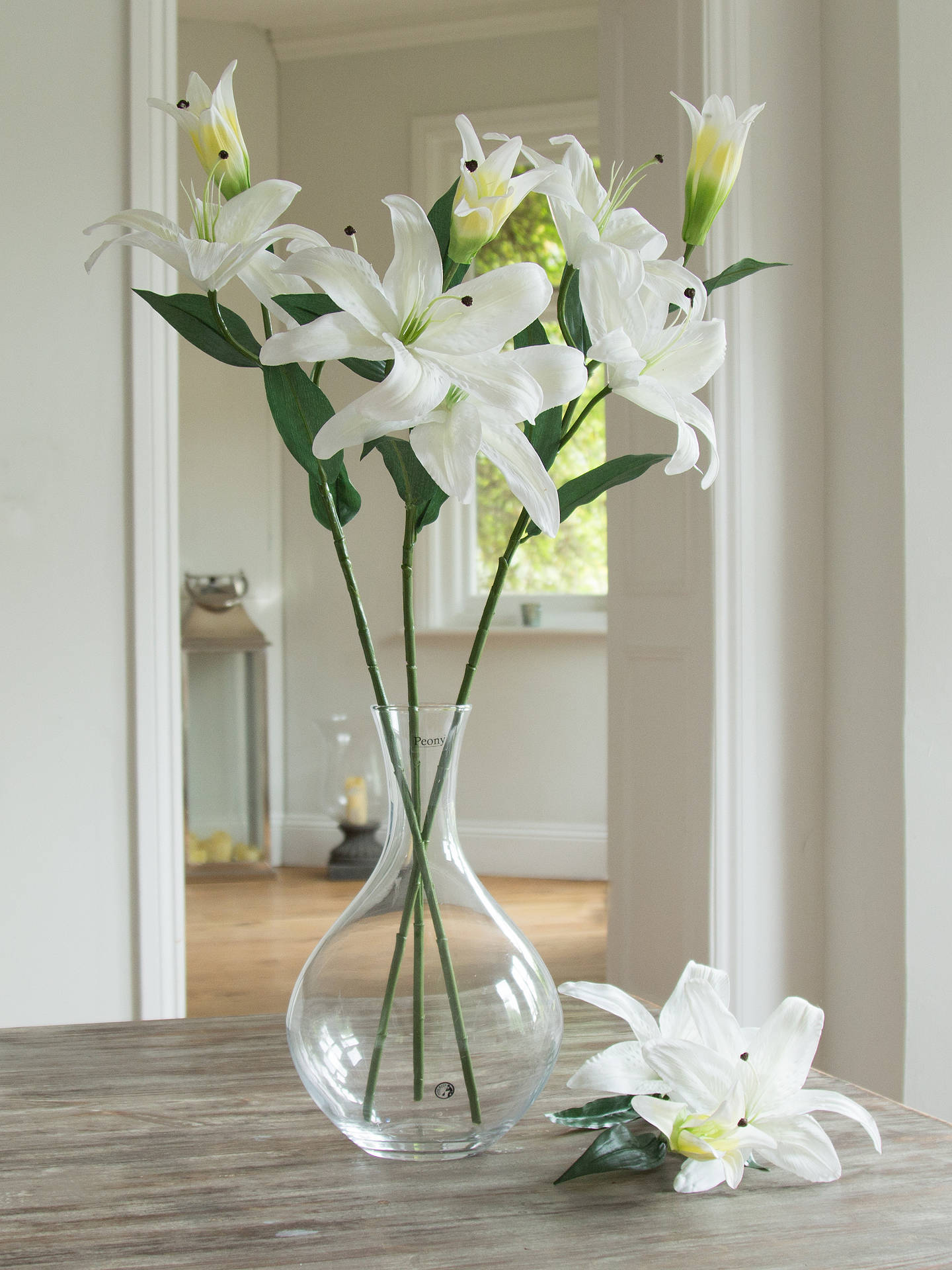 Peony artificial casablanca lilies white at john lewis partners buypeony artificial casablanca lilies white online at johnlewis izmirmasajfo