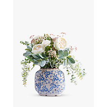 Buy Peony Artificial Country Blue & White Floral Arrangement In Ceramic Vase Online at johnlewis.com