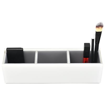 Stackers Sleek Large Glass Cosmetic Tidy, White