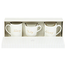 Buy John Lewis Baby, Mummy & Daddy Ceramic Mugs, Set of 3, White Online at johnlewis.com