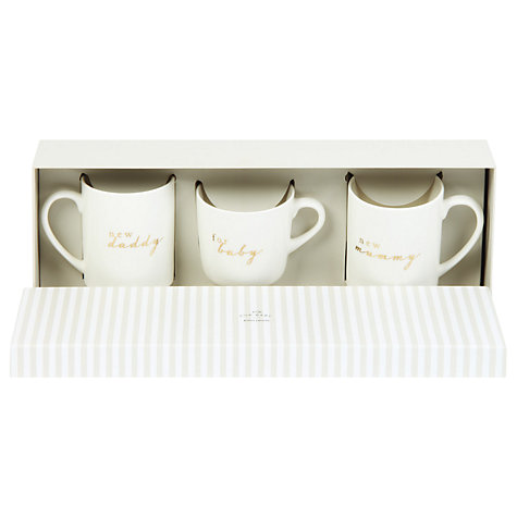 Christening gifts personalised gifts and christening ideas buy john lewis baby mummy daddy ceramic mugs set of 3 white negle Images