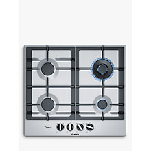 Buy Bosch PCH6A5B90 FlameSelect Gas Hob, Stainless Steel Online at johnlewis.com