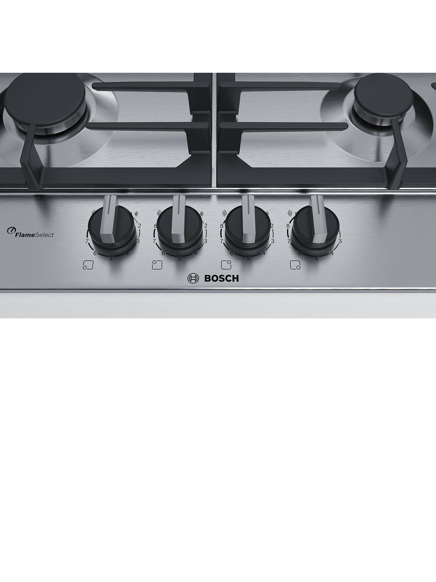 BuyBosch PCH6A5B90 FlameSelect Gas Hob, Stainless Steel Online at johnlewis.com