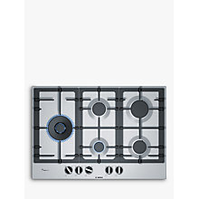 Buy Bosch PCS7A5B90 FlameSelect Gas Hob, Stainless Steel Online at johnlewis.com