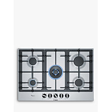 Buy Bosch PCQ7A5B90 FlameSelect Gas Hob, Stainless Steel Online at johnlewis.com