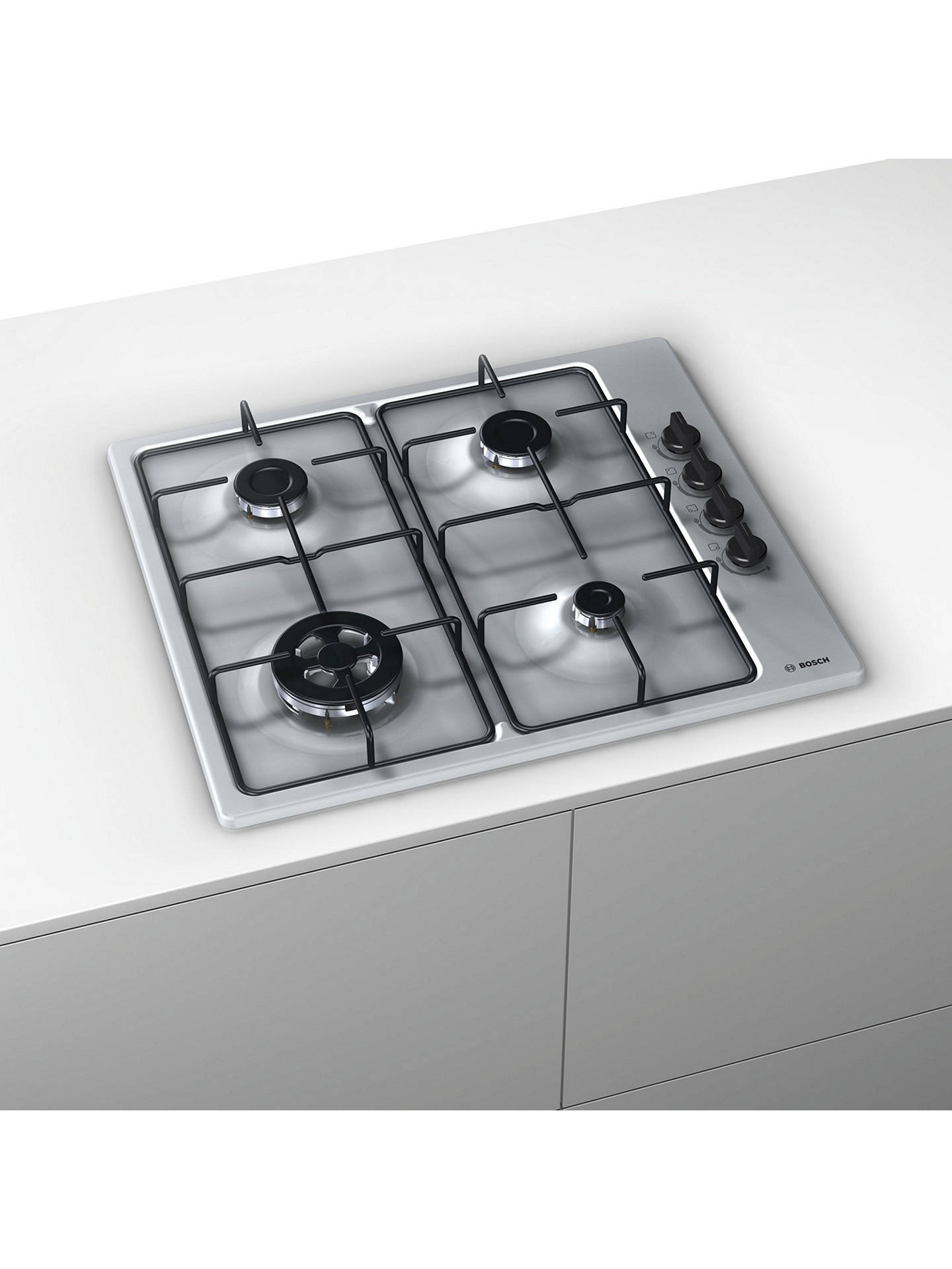 BuyBosch PBH6B5B80 Gas Hob, Stainless Steel Online at johnlewis.com