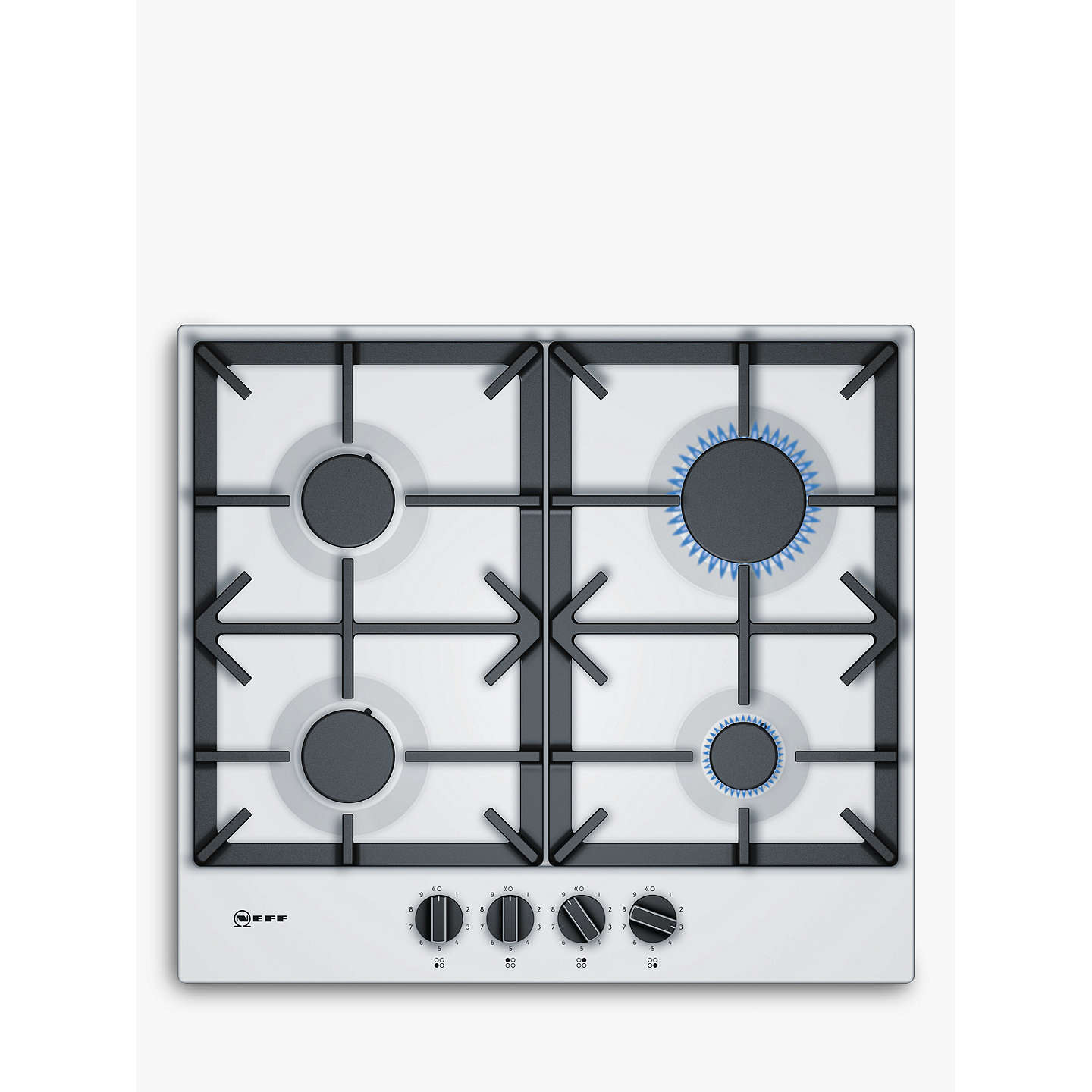 Neff T26DS49W0 FlameSelect Gas Hob, White at John Lewis