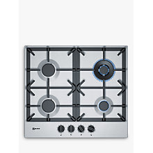 Buy Neff T26DS59N0 FlameSelect Gas Hob, Stainless Steel Online at johnlewis.com