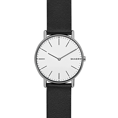 Skagen SKW6419 Women's Signatur Leather Strap Watch, Black/White
