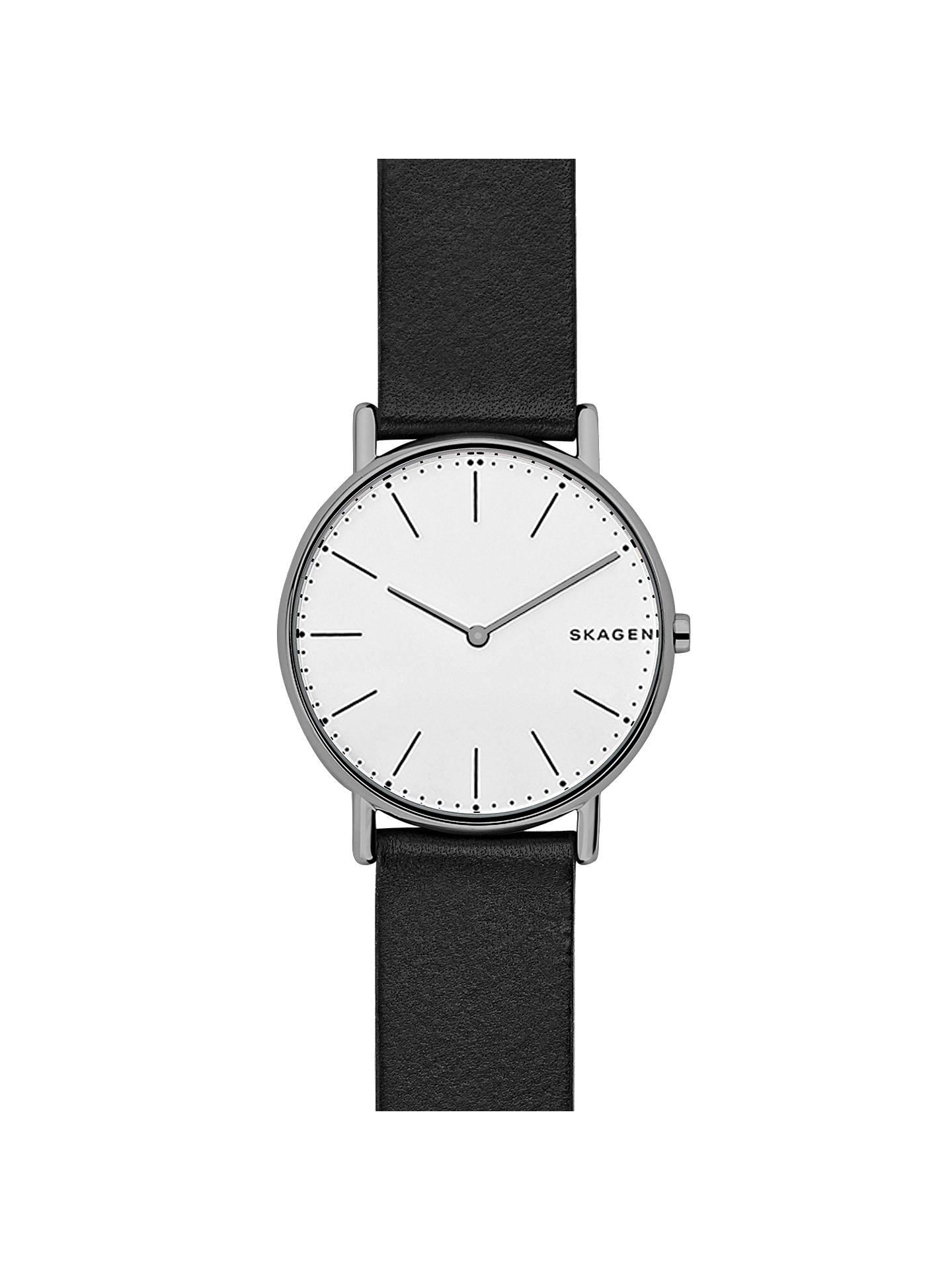 bf76d85b9 Buy Skagen SKW6419 Women's Signatur Leather Strap Watch, Black/White Online  at johnlewis.
