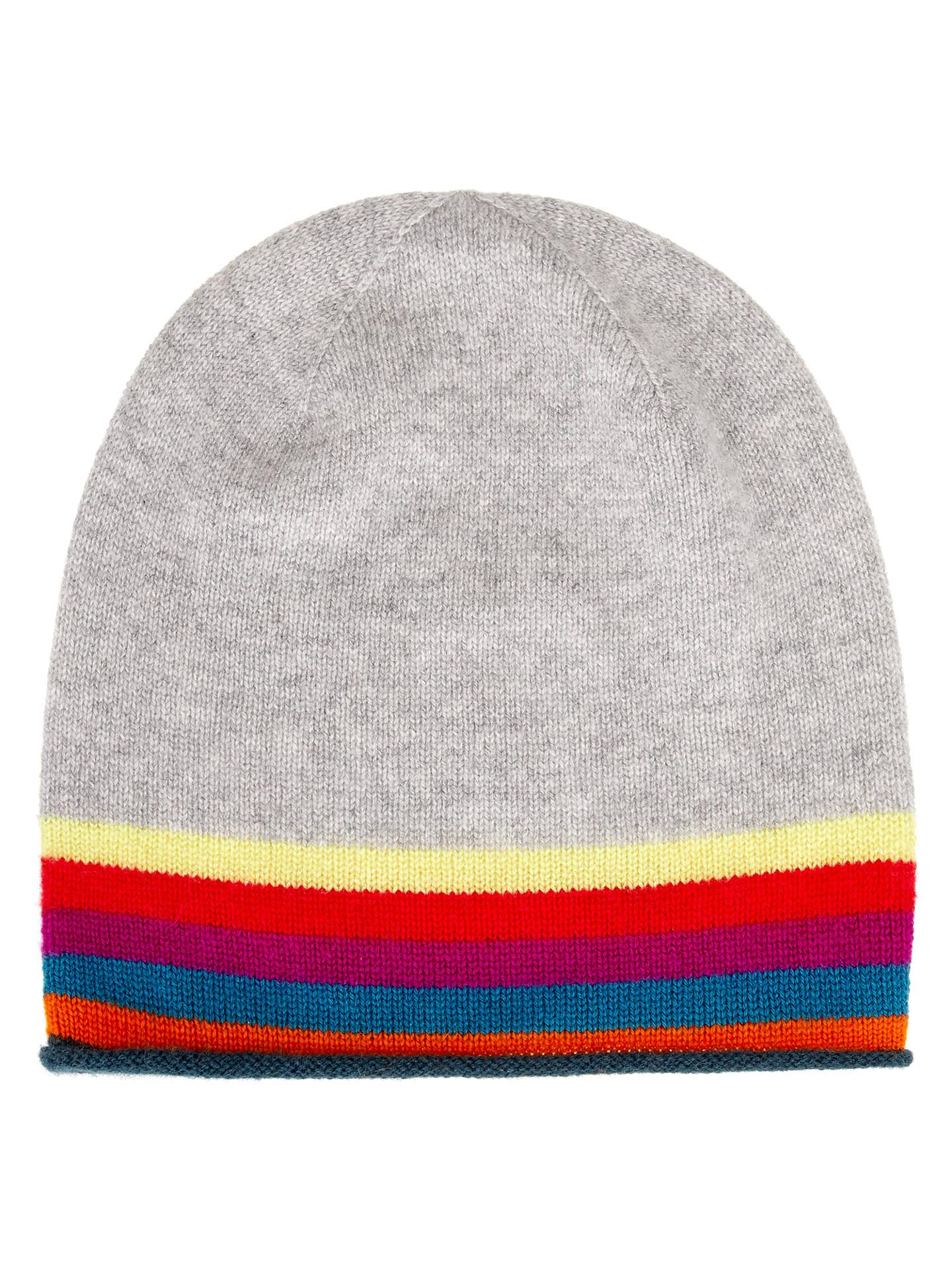 13cc5c11 Buy Wyse London Rainbow Stripe Cashmere Beanie, Grey Online at  johnlewis.com ...