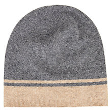 Buy Wyse London Cashmere Stripe Beanie Hat, Grey Online at johnlewis.com