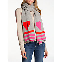 Buy Wyse London Stripe Heart Cashmere Scarf, Light Grey Online at johnlewis.com