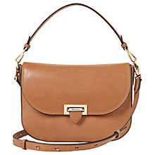 Buy Aspinal of London Letterbox Leather Slouchy Saddle Bag, Tan Online at johnlewis.com