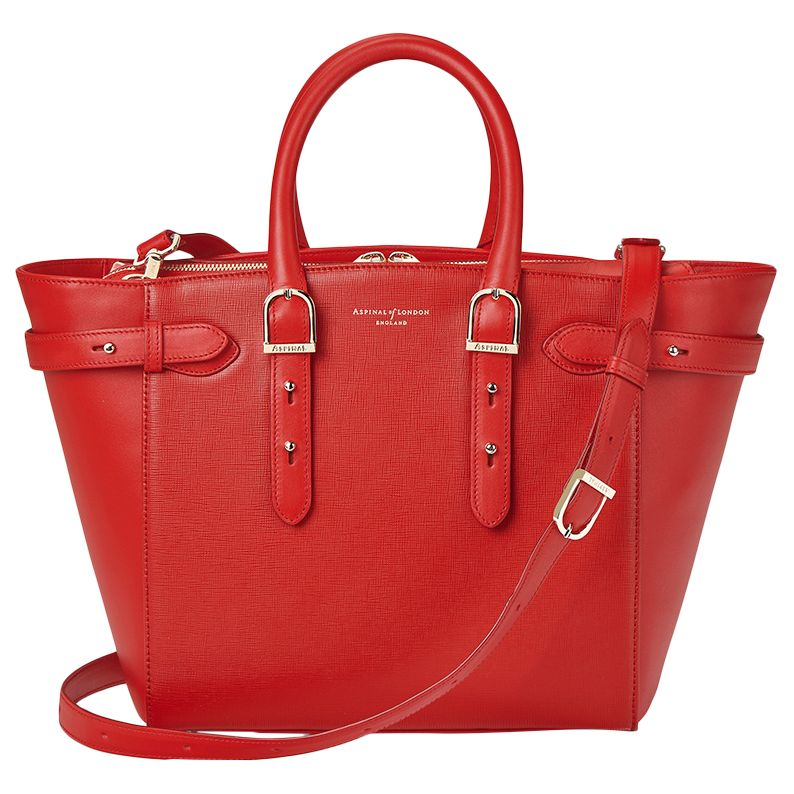 Aspinal of London Marylebone Midi Leather Tote Bag, Carrera Scarlet at John  Lewis   Partners d735d16d5b