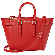 Buy Aspinal of London Marylebone Midi Leather Tote Bag, Carrera Scarlet Online at johnlewis.com