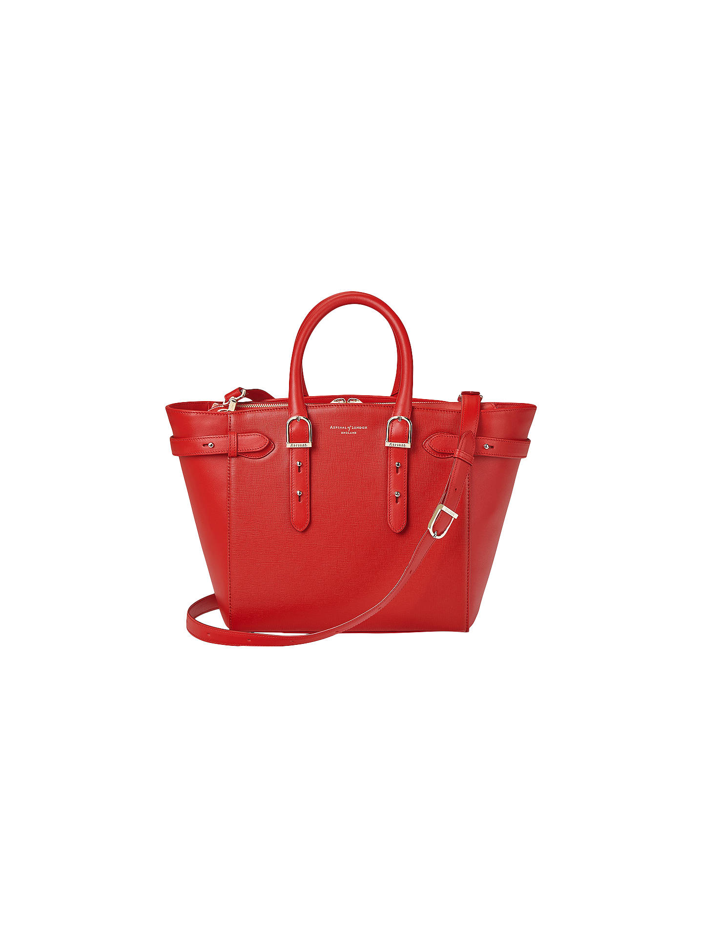 BuyAspinal of London Marylebone Midi Leather Tote Bag, Carrera Scarlet  Online at johnlewis.com ... cae0c4f3cd