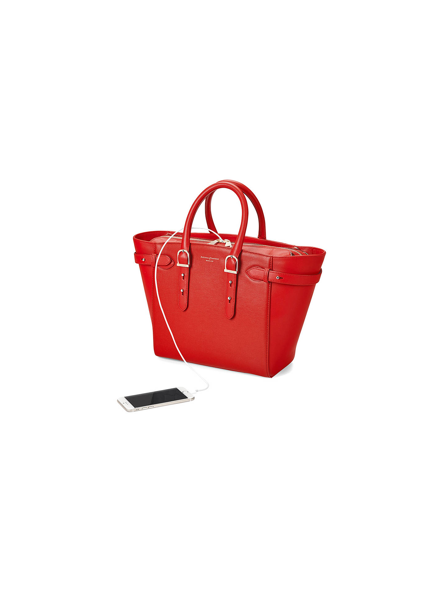 ... BuyAspinal of London Marylebone Midi Leather Tote Bag, Carrera Scarlet  Online at johnlewis.com 8e1b6ef93a