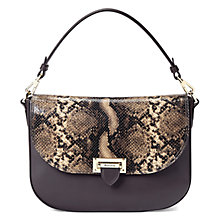 Buy Aspinal of London Letterbox Leather Slouchy Saddle Bag, Tan Snake / Brown Online at johnlewis.com
