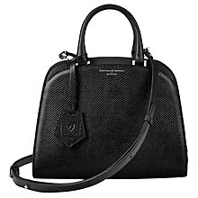 Buy Aspinal of London Hepburn Leather Mini Grab Bag, Lizard Black Online at johnlewis.com