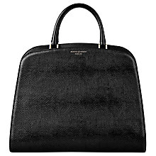 Buy Aspinal of London Hepburn Leather Large Grab Bag, Lizard Black Online at johnlewis.com