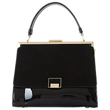 Buy Dune Dame Large Enamel Lock Frame Top Grab Bag, Black Patent Online at johnlewis.com
