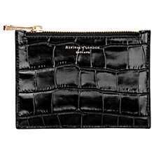 Buy Aspinal of London Essential Croc Effect Leather Small Flat Pouch Online at johnlewis.com