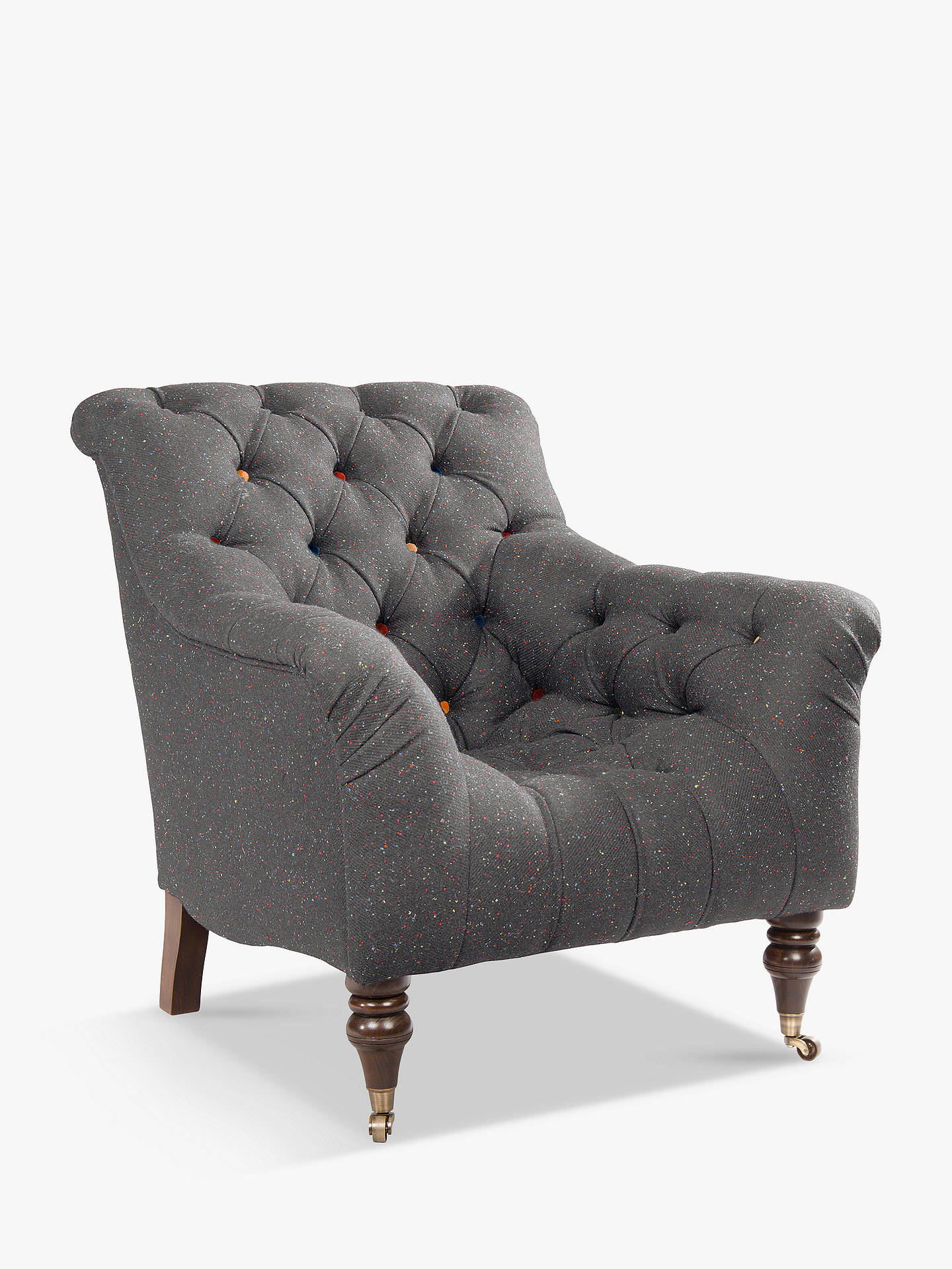 BuyTetrad Skittle Armchair, Antique Brass Castors, Harris Tweed Skye Overcast Speckle Online at johnlewis.com