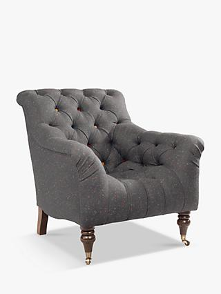 Tetrad Skittle Armchair, Antique Brass Castors, Harris Tweed Skye Overcast Speckle