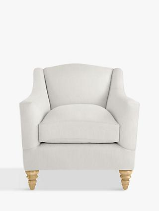 Croft Collection Melrose Armchair, Light Leg, Bracken Herringbone Steel