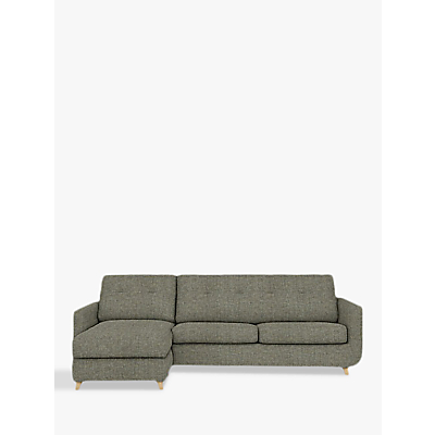 John Lewis Barbican LHF Chaise Sofa Bed with Storage, Pocket Sprung Mattress, Light Leg, Stanton Dark Eau De Nil