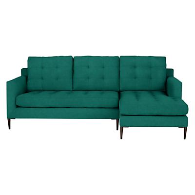 John Lewis Draper RHF Chaise End Sofa, Dark Leg, Chloe Emerald