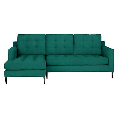 John Lewis Draper LHF Chaise End Sofa, Dark Leg, Chloe Emerald
