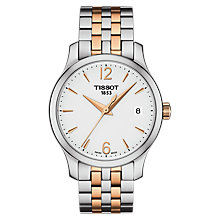 Buy Tissot T0632102203701 Women's Le Locle Two Tone Date Bracelet Strap Watch, Silver/Rose Gold Online at johnlewis.com