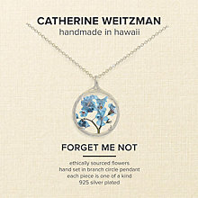 Buy Catherine Weitzman Small Forget Me Not Circle Pendant Necklace, Silver/Blue Online at johnlewis.com