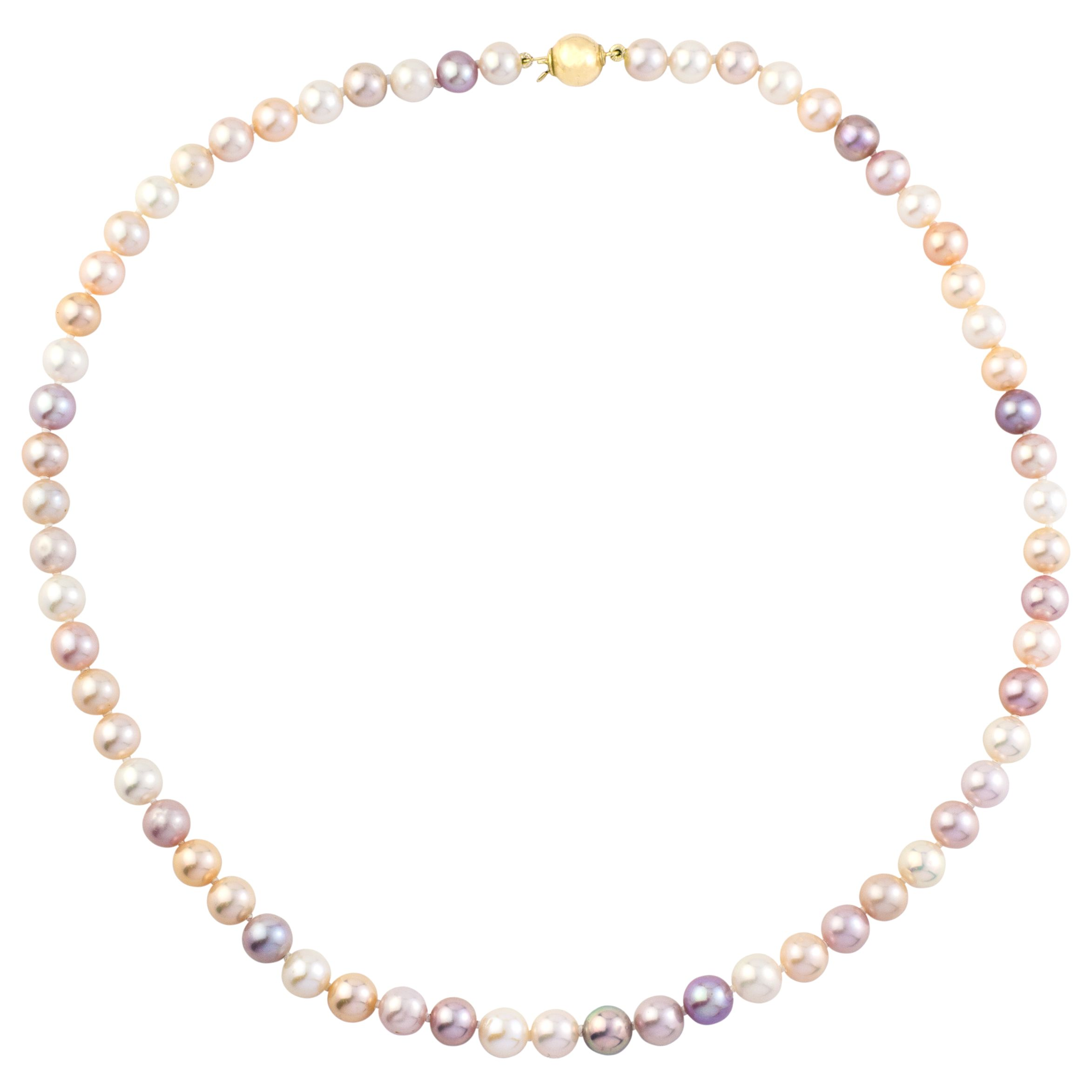A B Davis A B Davis 9ct Gold Pearl Necklace, Multi