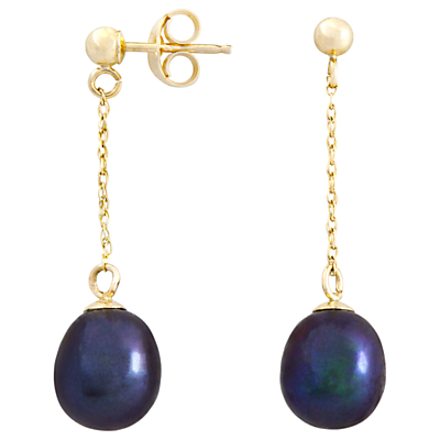 A B Davis 9ct Gold Drop Chain Pearl Earrings
