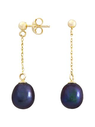 A B Davis 9ct Gold Drop Chain Pearl Earrings