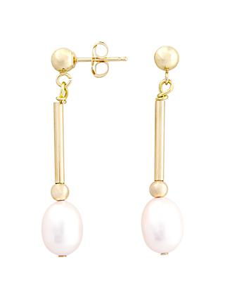 A B Davis 9ct Gold Bar Drop Pearl Earrings