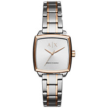 Buy Armani Exchange AX5449 Women's Square Two Tone Bracelet Strap Watch, Silver/Rose Gold Online at johnlewis.com