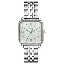 Buy Fossil ES4268 Women's Micha Bracelet Strap Watch, Silver/White Online at johnlewis.com