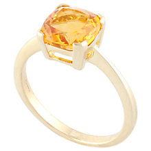 Buy A B Davis 9ct Gold Claw Set Cushion Citrine Ring, Yellow Online at johnlewis.com