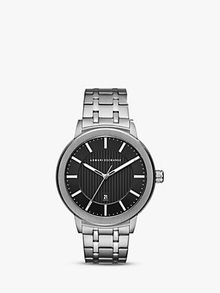 Armani Exchange AX1455 Men's Date Bracelet Strap Watch, Silver/Black