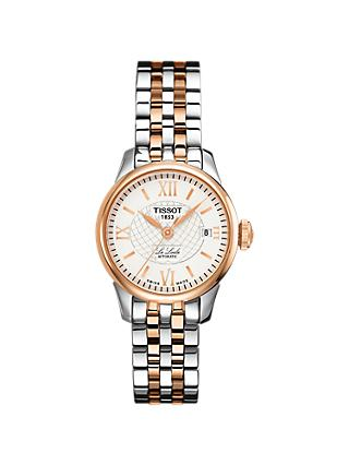 Tissot T41218333 Women's Le Locle Automatic Date Two Tone Bracelet Strap Watch, Silver/Rose Gold